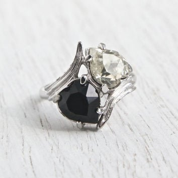 Vintage Black, White Stone Heart Ring - Retro Signed Sarah Coventry Silver Tone Adjustable Rhinestone Costume Jewelry / Day & Night Ring
