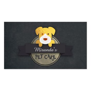 Black Gold Pet Care Sitting Grooming Beauty Salon Business Card