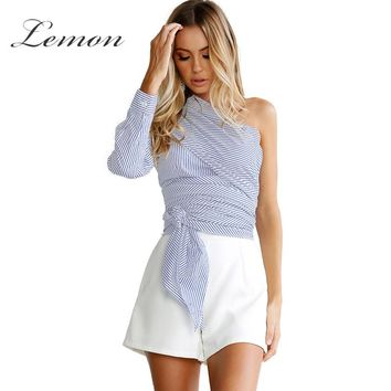 Lemon Sheath Striped Lace Up Tops Shirt Women Casual Ruched Button Spring Blouse Shirt Chic Skew Collor Blouse Female
