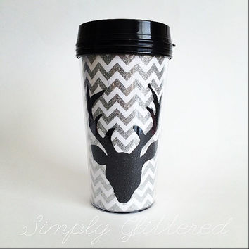 Deer Head on Chevrons Travel Mug