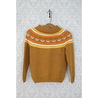 Vintage 1960s Fair Isle Knit + Shrunken Crew Neck Sweater