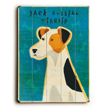 Jack Russell Terrier by Artist John W. Golden Wood Sign