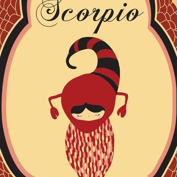 "Scorpio Zodiac Astrological Sign Poster / Print Art ""SCORPIO"" 8x10 Zodiac Sign / Animal Print"