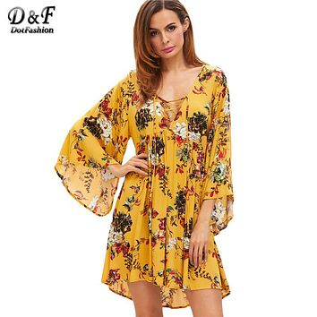Dotfashion Lace Up Boho Dress Women Yellow Floral V Neck Bell Sleeve Beach Summer Dresses 2017 Long Sleeve Vintage Casual Dress