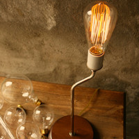 Industrial Table Lamp Light Wood Lamps Industrial Lighting Cool Gifts for Men Edison Cage Bulb Lamp - Table Lamp by Luke Lamp Co