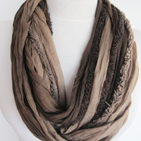 Brown / Beige Cotton  Scarf, Long Scarf, Infinity Scarf, Christmas, Gift, Cowl