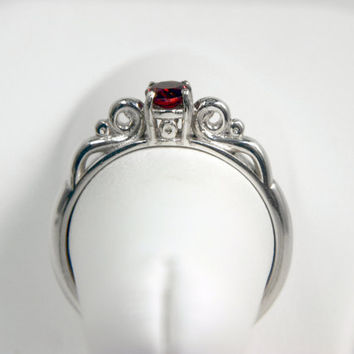 Filigree Deep Red Garnet Ring in Sterling by moonkistdesigns
