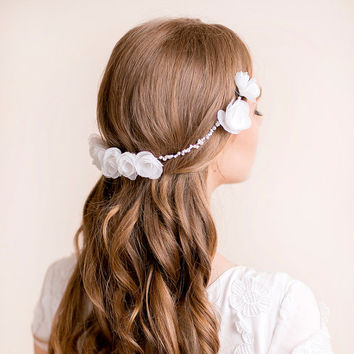 Wedding Hair Accessory Floral - Wedding Hairpiece - Wedding Headpiece - Organza Flower Headpiece  - Bridal Hairpiece