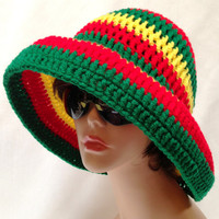 Large Brimmed Rasta Sun Hat. Crochet Beach Hat, Summer Fashion Hat