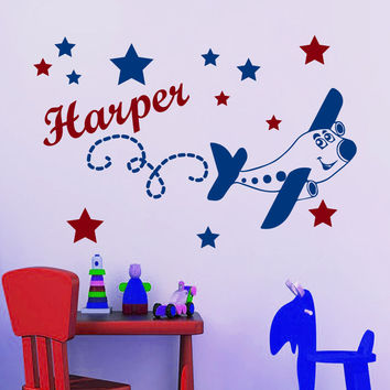 Eco-friendly Wall Decal Personalized Boy Name Plane Star Decals Kids Room Decor Sticker Fashion Home Mural D-100