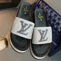 LV Louis Vuitton 2018 summer new casual pressure drill thick bottom sandals F-OMDP-GD white