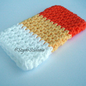 Candycorn crochet Phone cover ,iPhone,Blackberry,Tablet cover,Cell phone holder,Smartphone case,Crochet phone case
