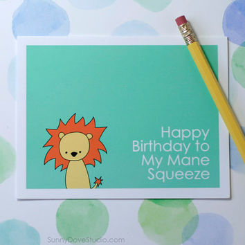 Lion Happy Birthday Card Romantic Birthday Card Fun Birthday Card For Boyfriend Birthday Husband Birthday Leo Birthday Card for Him Pun Card