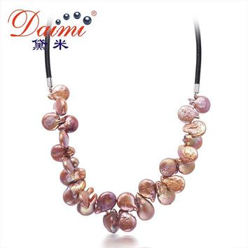 Coin Pearl 4 Color Necklace Colorful Jewelry, Trendy Style Rope Natural Pearl Necklaces
