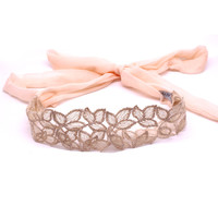 Metting Joura Holiday Vintage Bohemian Pink Long Chiffon Lace Flower Hairband Hair Accessories