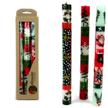 Tall Hand Painted Candles - Three in Box - Ukhisimui Design