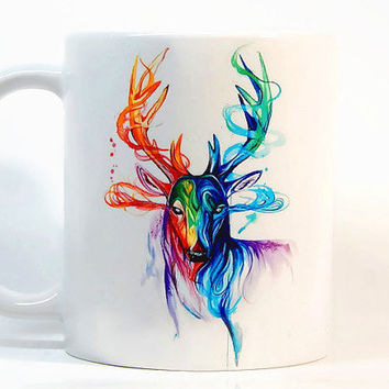 Deer coffee mug, Deer mug Watercolor Mug, Coffee Cup, Tea Cup, Gift for her, Gift for him, Printed mug, Ceramic mug
