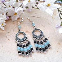 Bohemian Earrings For Women - Boho Gypsy Earrings For Women - Amazonite Earrings For Her - Bohemian Earrings For Her - Solana Kai Designs