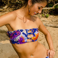 Peek-a-Boob Bandeau TOP-Coral Reef Camo with Black Strap