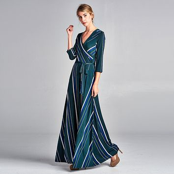 Striped Venechia Wrap Dress
