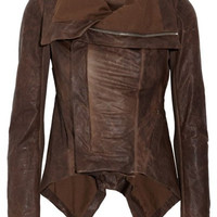 Brown Turn-Down Collar Long Sleeve Faux Leather Jacket