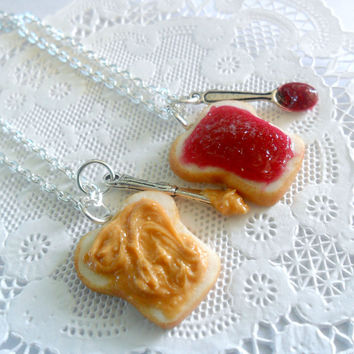Peanut Butter Jam Necklace Set, Raspberry Jam, Berry Jelly, Best Friend's BFF