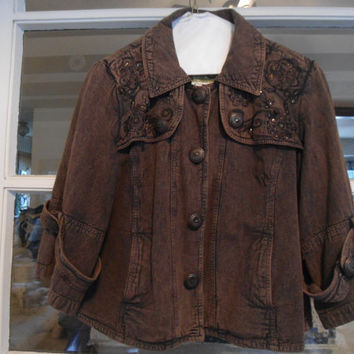 Vintage 80's Crop Brown Jacket with Sequins and Beads