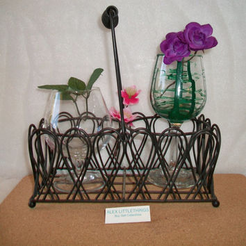 Vintage Wire Wine Bottle Holder Black Planter Basket Home Garden Decor