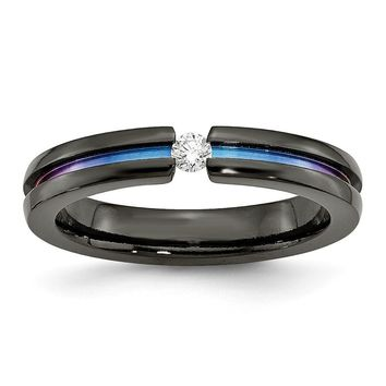 Men's Titanium Black Ti Multi-colored Anodized with Diamond Wedding Band Ring