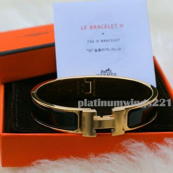 NIB Authentic Hermes PM H Clic Clac Black Gold Enamel GHW Bangle Bracelet