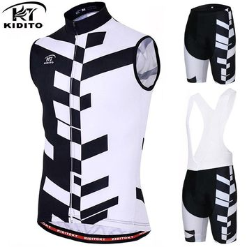 KIDITOKT Pro Sleeveless Cycling Vest Cycling Jersey Set Summer Mountain Bicycle Cycling Clothing Racing Bike Clothes Suit
