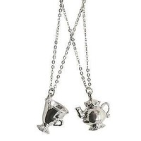 Licensed cool Disney Beauty & The Beast Mrs. Potts & Chip Son BFF Bestie Necklace Set Gift NEW