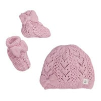 Cuddl Duds® Pointelle Bow Hat and Bootie Set in Pink
