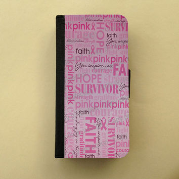 Breast cancer awareness iPhone 4 / 5 case Samsung Galaxy S3 S4 wallet, iPhone wallet case, book style, Samsung iPhone flip case pink