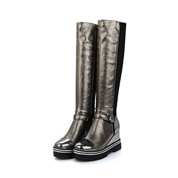 New Winter Quality Women Knee High Wedges Boots Fashion Black Gunmetal Red Lady Light Motorcycle Shoes EYN01 Plus Big size 10 43