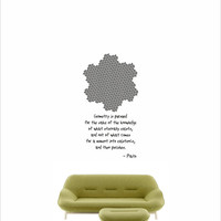 Science art mathematics- Plato quote and Gosper Curve vinyl wall decal / sticker for university and school classroom