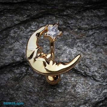 Golden Crescent Moon Shine Reverse Belly Button Ring