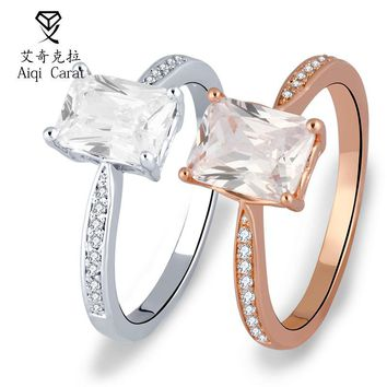 AIQICARAT 925 Silver Ring Fashion S Design Romantic Rose Gold Rings White Rings Cubic Zirconia ring For Women Wedding Jewelry