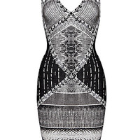 Black And White Ombre Pattern Bandage Dress