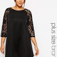 Club L | Club L Plus Size Scuba Dress With Lace Sleeves at ASOS