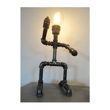 Robot table lamp - Pipe style Edison Bulb industrial table lamp - Steam punk style light