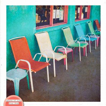Instant printable art, vintage print, colorful chairs, bright colors, street photography, digital download, fine art, wall art, home decor