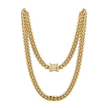 "Men's Stainless Steel 14mm Miami Cuban Link 14k Gold Finish Chain 24"" Designer Iced out new Lock"