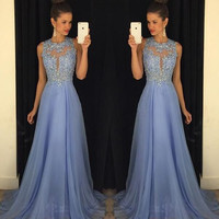 Long A Line Prom Dresses Scoop Sleeveless Cover Back Sweep Train Chiffon with Crystal Beading Sexy Formal Party Prom Gowns
