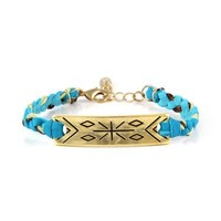 Gold Tribal Cross Bar with Turquoise Leather and Mint-Brown Trim Bracelet