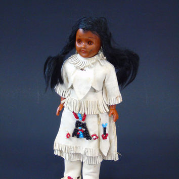 Mohawk Brave Princess Vintage Native American Indian CARLSON Doll Sleepy Eyes Leather Outfit