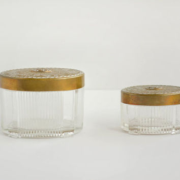 Vintage Small Glass Oval Containers with Brass Lids - Decorative Trinket Boxes - Floral - Shabby Chic