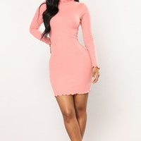 Cinna Ribbed Dress - Rose