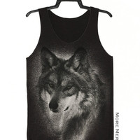 Wolf Face Animal Charcoal Black Art Singlet Tunic Vest Tank Top Animal Sleeveless Shirt Women Indie Punk Rock T-Shirt Size S-M