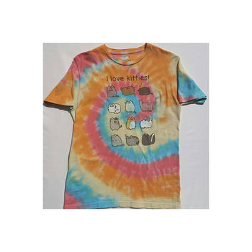 "Tie Dye Spiral Pusheen ""I Love Kitties!"" T-Shirt, Meow, Cat Top, Hippie Shirt, Boho Top, Unisex Adult Size Medium, Hot Topic"